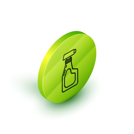 Isometric line Cleaning spray bottle with detergent liquid icon isolated on white background. Green circle button. Vector Illustration