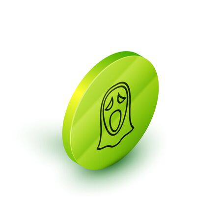 Isometric line Funny and scary ghost mask for Halloween icon isolated on white background. Happy Halloween party. Green circle button. Vector Illustration Illustration