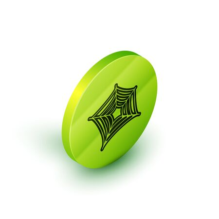 Isometric line Spider web icon isolated on white background. Cobweb sign. Happy Halloween party. Green circle button. Vector Illustration 向量圖像