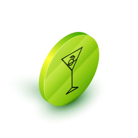 Isometric line Martini glass icon isolated on white background. Cocktail icon. Wine glass icon. Green circle button. Vector Illustration Illustration