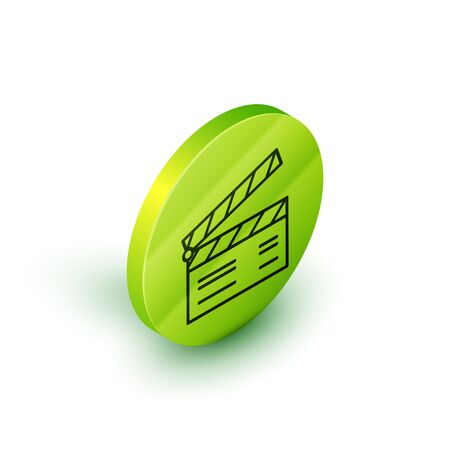 Isometric line Movie clapper icon isolated on white background. Film clapper board. Clapperboard sign. Cinema production or media industry concept. Green circle button. Vector Illustration