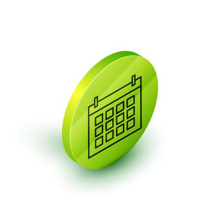 Isometric line Calendar icon isolated on white background. Event reminder symbol. Green circle button. Vector Illustration