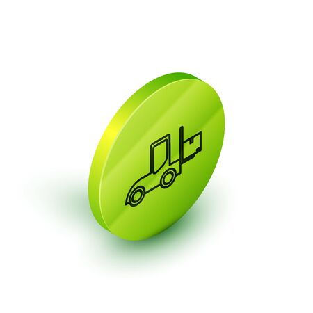Isometric line Forklift truck icon isolated on white background. Fork loader and cardboard box. Cargo delivery, shipping, transportation. Green circle button. Vector Illustration Stock fotó - 134026174
