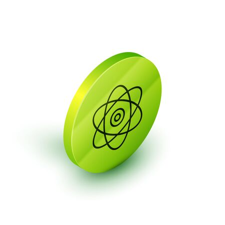 Isometric line Atom icon isolated on white background. Symbol of science, education, nuclear physics, scientific research. Electrons and protons sign. Green circle button. Vector Illustration