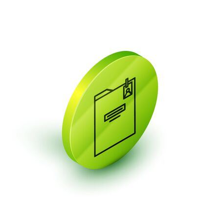 Isometric line Personal folder icon isolated on white background. Green circle button. Vector Illustration Illustration