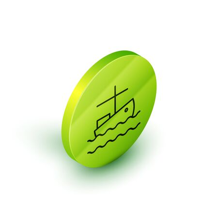 Isometric line Fishing boat on water icon isolated on white background. Green circle button. Vector Illustration