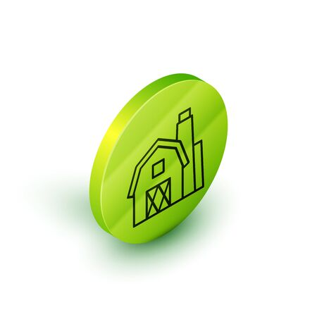 Isometric line Farm House concept icon isolated on white background. Rustic farm landscape. Green circle button. Vector Illustration