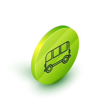 Isometric line School Bus icon isolated on white background. Green circle button. Vector Illustration