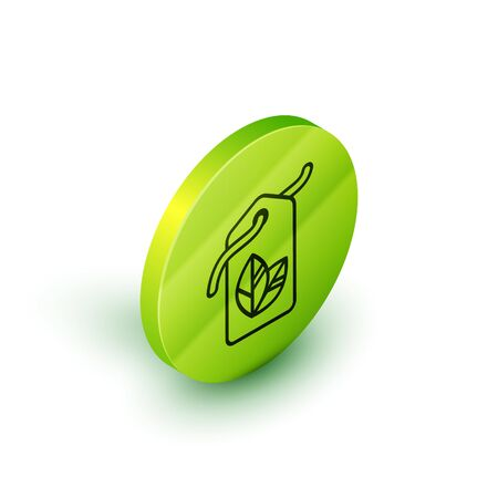 Isometric line Tag with leaf symbol icon isolated on white background. Banner, label, tag, sticker for eco green. Green circle button. Vector Illustration