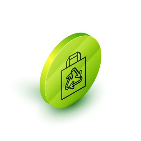 Isometric line Paper shopping bag with recycle icon isolated on white background. Bag with recycling symbol. Green circle button. Vector Illustration