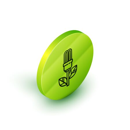 Isometric line Light bulb with leaf icon isolated on white background. Eco energy concept. Alternative energy concept. Green circle button. Vector Illustration