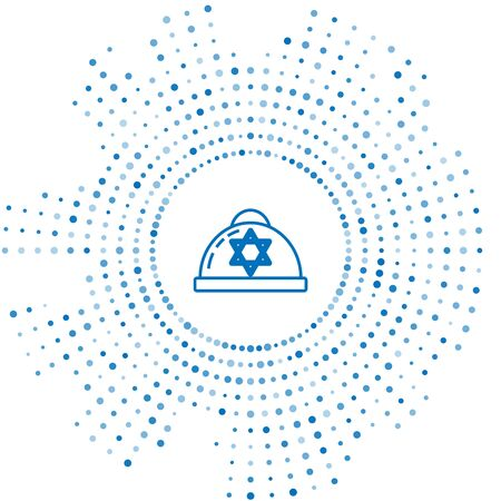 Blue line Jewish kippah with star of david icon isolated on white background. Jewish yarmulke hat. Abstract circle random dots. Vector Illustration