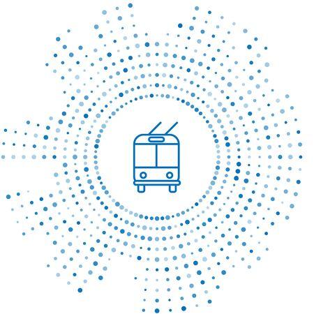 Blue line Trolleybus icon isolated on white background. Public transportation symbol. Abstract circle random dots. Vector Illustration