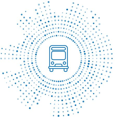 Blue line Bus icon isolated on white background. Transportation concept. Bus tour transport sign. Tourism or public vehicle symbol. Abstract circle random dots. Vector Illustration Ilustracja