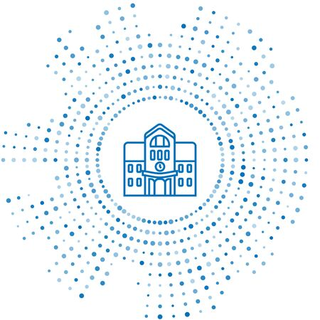 Blue line School building icon isolated on white background. Abstract circle random dots. Vector Illustration