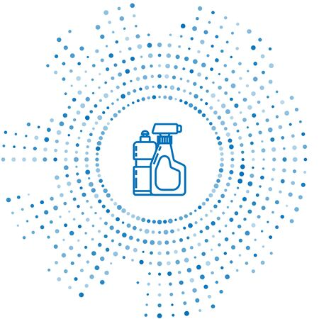 Blue line Plastic bottles for liquid laundry detergent, bleach, dishwashing liquid or another cleaning agent icon isolated on white background. Abstract circle random dots. Vector Illustration
