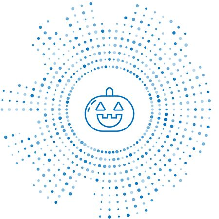 Blue line Pumpkin icon isolated on white background. Happy Halloween party. Abstract circle random dots. Vector Illustration Ilustração