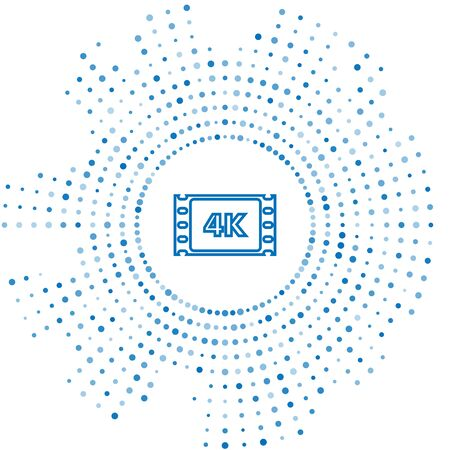 Blue line 4k movie, tape, frame icon isolated on white background. Abstract circle random dots. Vector Illustration Vektoros illusztráció
