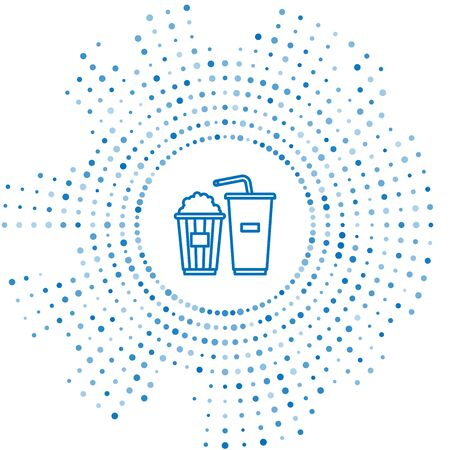 Blue line Popcorn in cardboard box and paper glass with drinking straw and water icon isolated on white background. Soda drink glass. Abstract circle random dots. Vector Illustration Ilustração