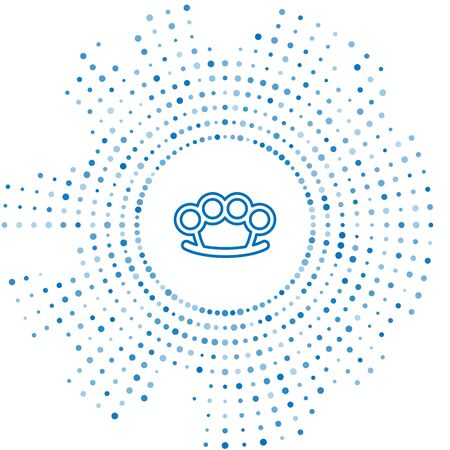 Blue line Brass knuckles icon isolated on white background. Abstract circle random dots. Vector Illustration Vettoriali