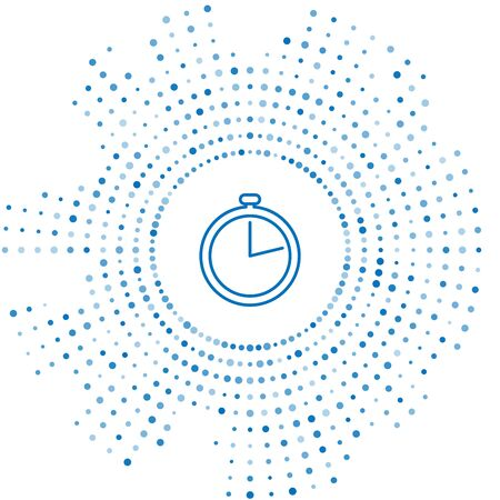 Blue line Stopwatch icon isolated on white background. Time timer sign. Abstract circle random dots. Vector Illustration Illustration