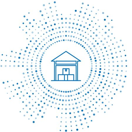Blue line Warehouse icon isolated on white background. Abstract circle random dots. Vector Illustration Ilustração