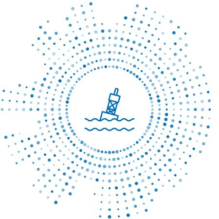 Blue line Floating buoy on the sea icon isolated on white background. Abstract circle random dots. Vector Illustration