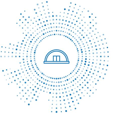 Blue line Hangar icon isolated on white background. Abstract circle random dots. Vector Illustration