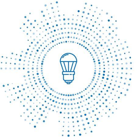 Blue line LED light bulb icon isolated on white background. Economical LED illuminated lightbulb. Save energy lamp. Abstract circle random dots. Vector Illustration Ilustração Vetorial