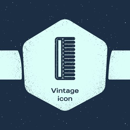 Grunge line Hairbrush icon isolated on blue background. Comb hair sign. Barber symbol. Monochrome vintage drawing. Vector Illustration