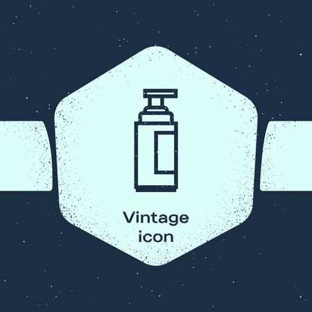 Grunge line Cream or lotion cosmetic tube icon isolated on blue background. Body care products for men. Monochrome vintage drawing. Vector Illustration