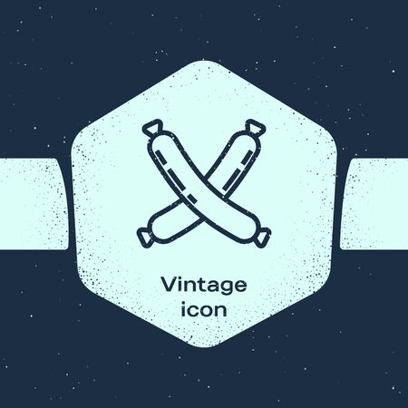 Grunge line Crossed sausage icon isolated on blue background. Grilled sausage and aroma sign. Monochrome vintage drawing. Vector Illustration