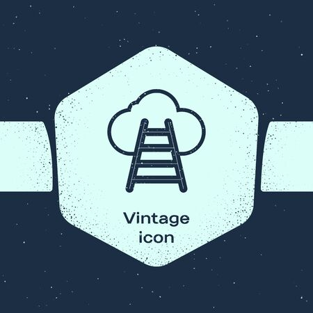 Grunge line Ladder leading to cloud icon isolated on blue background. Stairs leading to the cloud. Monochrome vintage drawing. Vector Illustration