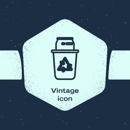 Grunge line Recycle bin with recycle symbol and can icon isolated on blue background. Trash can icon. Garbage bin sign. Recycle basket sign. Monochrome vintage drawing. Vector Illustration