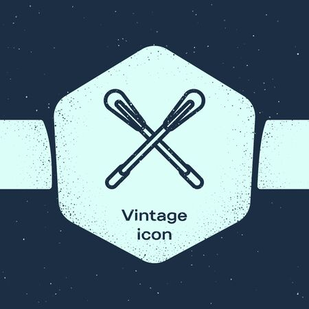 Grunge line Crossed paddle icon isolated on blue background. Paddle boat oars. Monochrome vintage drawing. Vector Illustration Ilustração