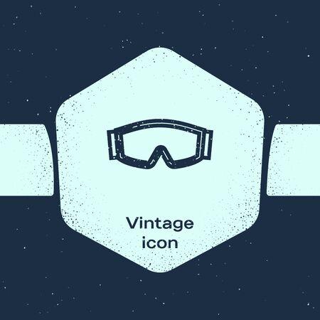 Grunge line Ski goggles icon isolated on blue background. Extreme sport. Sport equipment. Monochrome vintage drawing. Vector Illustration Ilustração