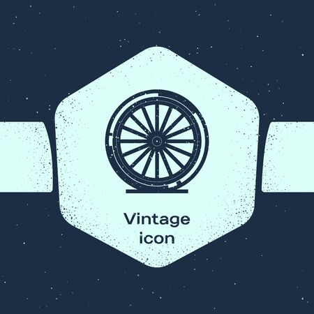 Grunge line Bicycle wheel icon isolated on blue background. Bike race. Extreme sport. Sport equipment. Monochrome vintage drawing. Vector Illustration