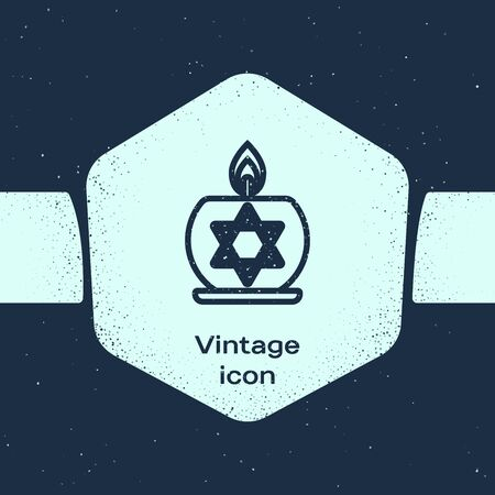 Grunge line Burning candle in candlestick with star of david icon isolated on blue background. Cylindrical candle stick with burning flame. Monochrome vintage drawing. Vector Illustration