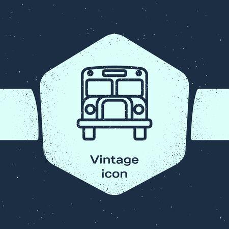 Grunge line School Bus icon isolated on blue background. Public transportation symbol. Monochrome vintage drawing. Vector Illustration