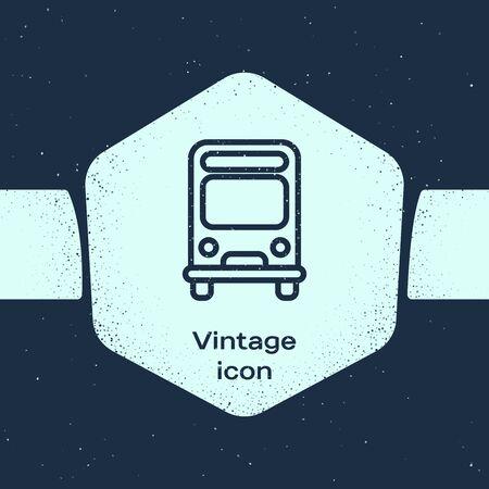 Grunge line Bus icon isolated on blue background. Transportation concept. Bus tour transport sign. Tourism or public vehicle symbol. Monochrome vintage drawing. Vector Illustration Ilustracja