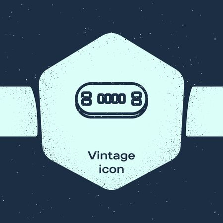 Grunge line Poker table icon isolated on blue background. Monochrome vintage drawing. Vector Illustration