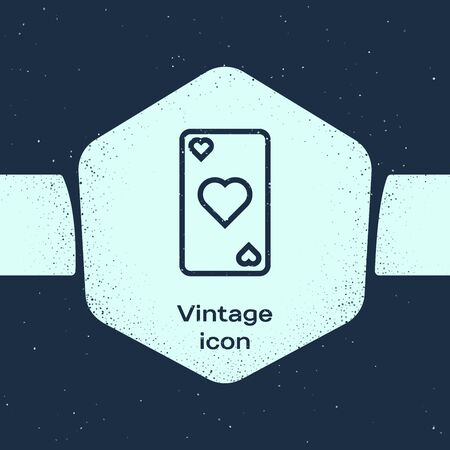 Grunge line Playing card with heart symbol icon isolated on blue background. Casino gambling. Monochrome vintage drawing. Vector Illustration