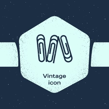 Grunge line Paper clip icon isolated on blue background. Monochrome vintage drawing. Vector Illustration