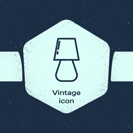 Grunge line Table lamp icon isolated on blue background. Monochrome vintage drawing. Vector Illustration