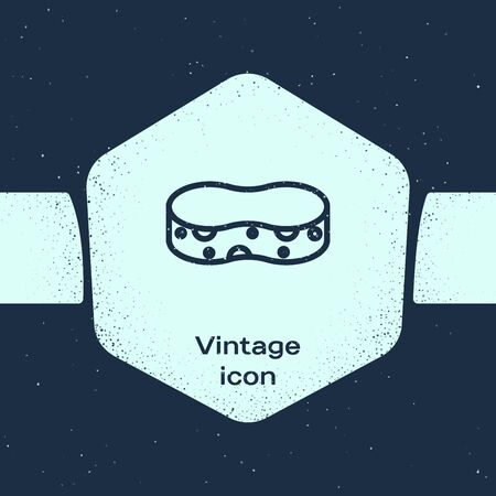 Grunge line Sponge icon isolated on blue background. Wisp of bast for washing dishes. Cleaning service concept. Monochrome vintage drawing. Vector Illustration