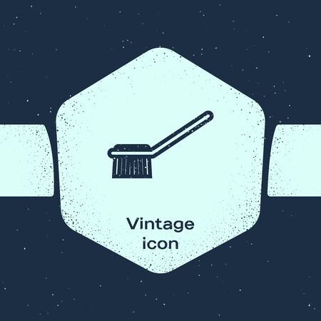 Grunge line Toilet brush icon isolated on blue background. Monochrome vintage drawing. Vector Illustration
