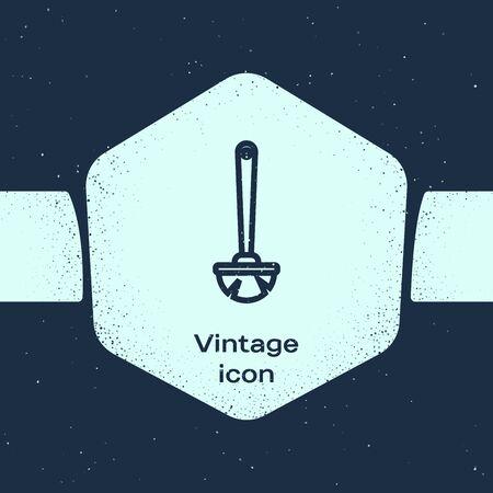 Grunge line Toilet brush icon isolated on blue background. Monochrome vintage drawing. Vector Illustration Иллюстрация