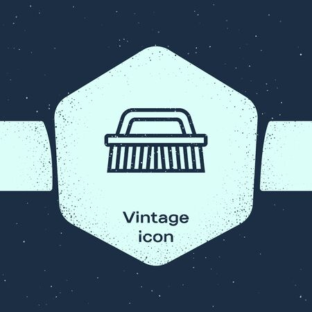 Grunge line Brush for cleaning icon isolated on blue background. Monochrome vintage drawing. Vector Illustration Иллюстрация