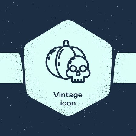 Grunge line Pumpkin and skull icon isolated on blue background. Happy Halloween party. Monochrome vintage drawing. Vector Illustration Ilustração