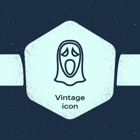 Grunge line Funny and scary ghost mask for Halloween icon isolated on blue background. Happy Halloween party. Monochrome vintage drawing. Vector Illustration Illustration